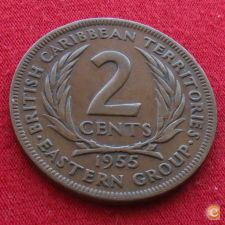 Caraibas British Caribbean Territories 2 cents 1955 KM# 3 *V