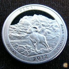 EUA U S A Estados Unidos 25 cents 2012 Denali Proof Prata
