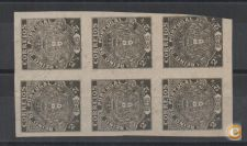 PORTUGAL BLOCO 6 IMPERFORATED PROOFS PROVA 2.5 2 1/2 REIS