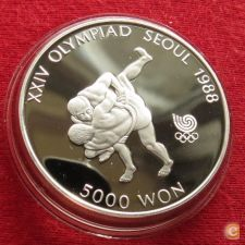 Coreia do Sul Korea 5000 won 1988 KM# 70 Luta Proof Prata