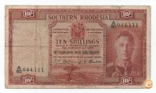 SOUTHERN RHODESIA 10 SHILLINGS 1950 PICK 9 VER SCANS
