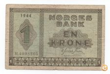 NORUEGA NORWAY 1 KRONE 1944 PICK 15 VER SCANS