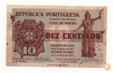PORTUGAL 10 CENTAVOS 1917 PICK 101 VER SCANS