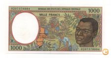 CENTRAL AFRICAN STATES 1000 FRANCS 2002 PICK 202 UNC