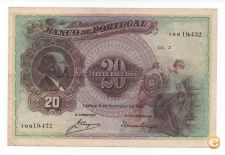PORTUGAL 20 ESCUDOS 1927 PICK 122 VER SCANS