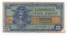 USA MILITARY PAYMENT CERTEFICATE 5 CENTS 1954 VER SCANS