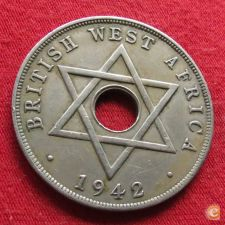 British West África Ocidental Oeste 1 penny 1942 w