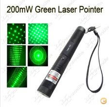 Laser 200mW 532nm portátil Green Laser Pointer (preto)