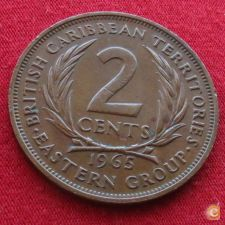 Caraibas British Caribbean Territories 2 cents 1965 KM# 3 *V