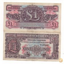 INGLATERRA BRITISH ARMED FORCES 1 POUND 1948 PICK M 22 VEJA