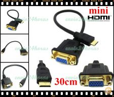 Extensão Cabo adaptador mini HDMI para VGA femea TV, PC ....