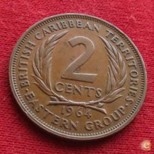 Caraibas British Caribbean Territories 2 cents 1964 KM# 3 *V