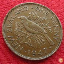 Nova Zelândia New Zealand 1 penny 1947 KM# 13
