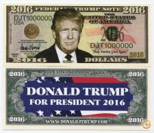 DONALD TRUMP - 2016 US ELECTION - COLOR NOVELTY NOTE