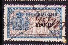 1908 - IMPOSTO DO SELLO - 100 Rs.