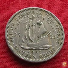 Caraibas British Caribbean Territories 25 cents 1957 KM#6 *V