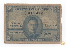 CHIPRE CYPRUS 3 PIASTRES 18 JUNE 1943 PICK 28 VER SCANS