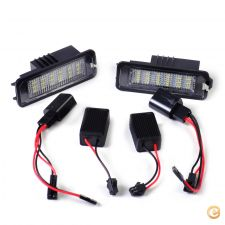 AUT021 - 2 farolins chapa matrícula LED VW Golf, Passat