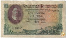 AFRICA DO SUL SOUTH AFRICA 5 POUNDS 1955 PICK 97 VER SCANS