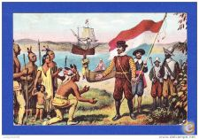 ESTADOS UNIDOS - HENRY HUDSON TAKING POSSESSION OF MANHATTAN