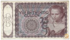 HOLANDA NETHERLANDS 25 GULDEN 1944 PICK 60 VER SCANS