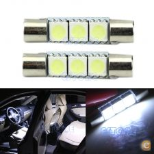 2x Lampada Tubular 3 LED SMD 29mm Carro Interior Matricula