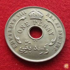 British West África Ocidental Oeste 1 penny 1936 KN UNC