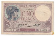 FRANÇA FRANCE 5 FRANCS 1929 PICK 72 D VER SCANS