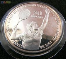 Niue 50 dollars 1987 Tenis Becker PROOF PRATA