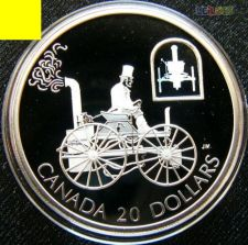 Canadá 20 dollars 2000 Carro Hologram PROOF Prata 1 oz