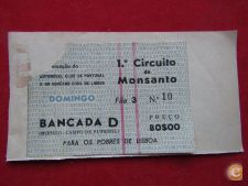 Bilhete do 1º Circuito de Monsanto - Automobilismo