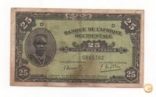 FRENCH WEST AFRICA 25 FRANCS 1942 PICK 30 VER SCANS