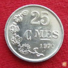 Luxemburgo 25 centimes 1970 KM# 45a.1 Luxembourg