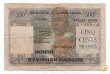 MADAGASCAR 500 FRANCS 1951 PICK 53 OVPT. ON 47 VER SCANS