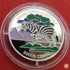 Benin 1000 francs 1997 KM# 43 Zebra PROOF Prata 999