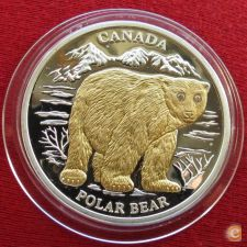 Libéria 10 dollars 2004 KM# 750 Urso Polar Proof Prata 999