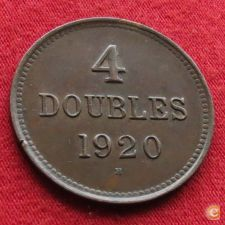 Guernsey 4 doubles 1920 KM# 13 w