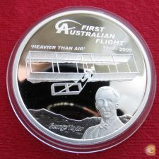 Tuvalu 1 $ 2009 aviao  PROOF Prata