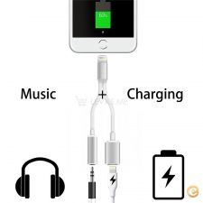 Cabo Apple iPhone 2 em 1 - Carregador + Jack audio