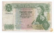 MAURITIUS 25 RUPEES 1967 PICK 32 B VER SCANS