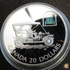 Canadá 20 dollars 2001 Carro Hologram PROOF Prata 1 oz